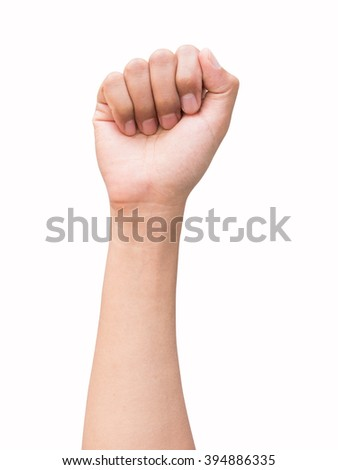 right hand a man show full hand, fist, hammer, number zero sign. isolated on white background