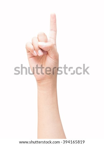 right hand a man show the first, number one sign, point to aim. isolated on white background - stock photo