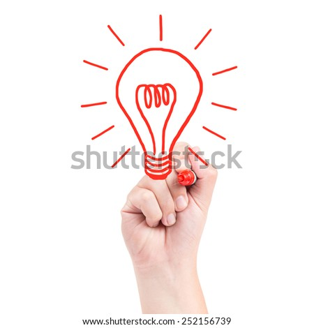 Right hand draw a bulb with red marker isolated on white background - stock photo