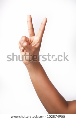 Right Hand gesture peace sign - stock photo