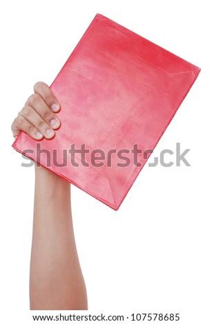 right-hand-held red book - stock photo