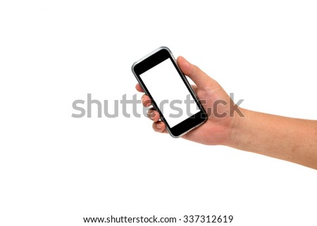 right hand holding cell phone with blank screen isolated on white