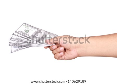 right hand holding dollar bills, isolated on white background