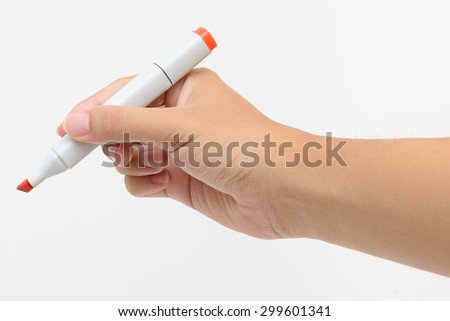 Right hand holding red marker for writing isolated on white background