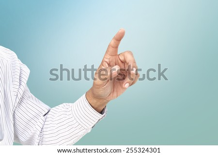 right hand index finger pointing with working path - stock photo