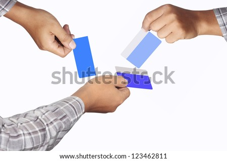 right hand is always for the good, blank card, isolated on white background
