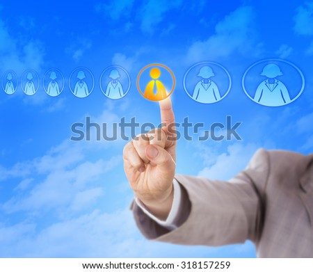 Right hand of a recruitment consultant is picking the only male candidate in a lineup of otherwise female knowledge worker icons. Business concept for hiring, HR decisions and gender discrimination. - stock photo