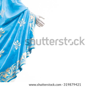 Right hand of Virgin Mary statue figure isolated (copy space) - stock photo