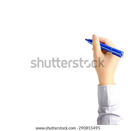 Right hand of young business man writing with blue pen maker isolate on white background with clipping path - stock photo