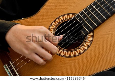 Right Hand Playing Position Basic of Classic Guitar - stock photo
