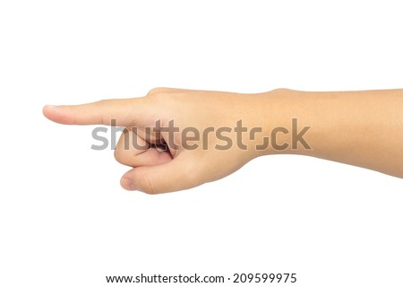 Right hand pointing to the left on a white background. - stock photo