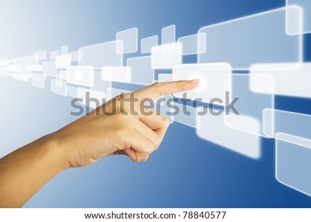 Right hand pushing touch screen icon - stock photo