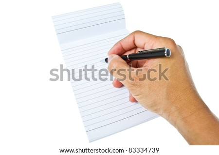 Right hand take a note on blank notepad - stock photo