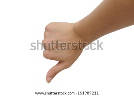 Right hand thumb down - stock photo