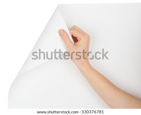 Right hand turning empty page corner on isolated white background