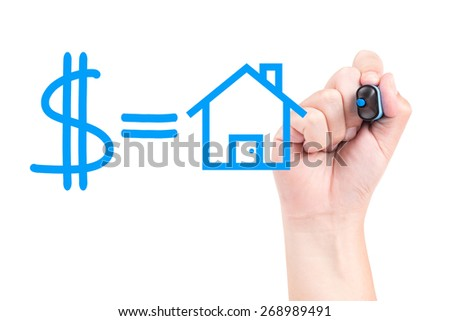Right hand with blue marker draw money and house isolated on white background - stock photo
