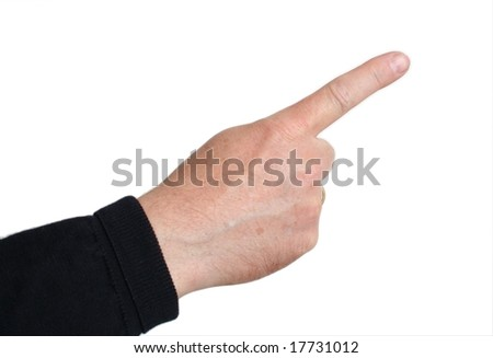 Right index finger pointing; middle-aged skin type (around 50); white background - stock photo
