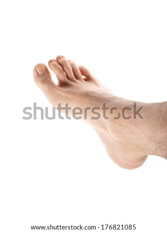 Right male foot isolated towards white background, with hair on leg - stock photo