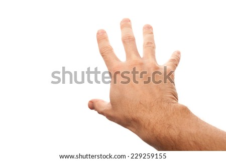 Right male hand trying to grab something, first-person view photo with selective focus isolated on white background - stock photo