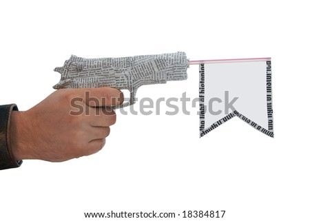 right male hand with fire a shot newspaper pistol and flag isolated on white background. fake - stock photo