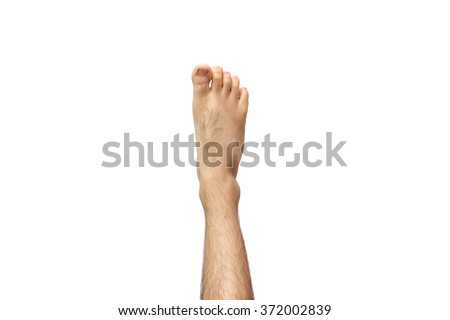 right men foot isolated on white background - stock photo