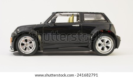 right of car toy isolated background - stock photo