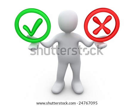 Right Or Wrong - stock photo