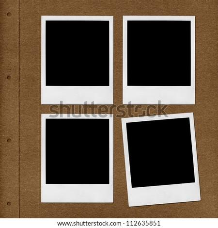 Right page of photo album with polaroid photo frames - stock photo