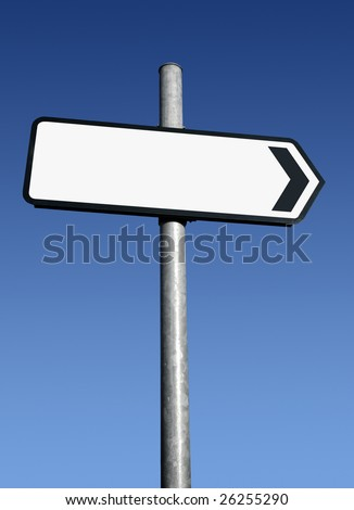 Right pointing blank white direction sign. - stock photo