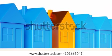 Right realty decision: special golden house among common ones. - stock photo