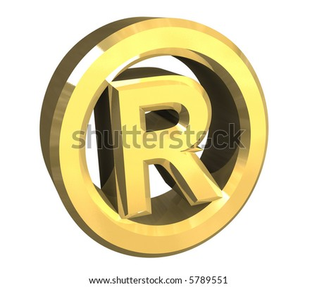 right reserved symbol in gold - 3d - stock photo