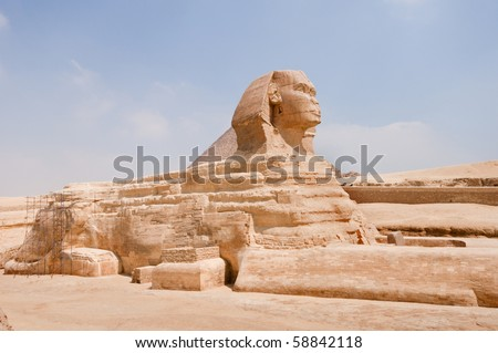Right side of the Sphinx of Giza, Cairo, Egypt.