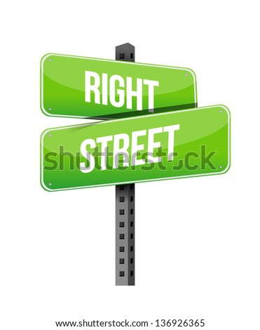 right street road sign illustration design over a white background