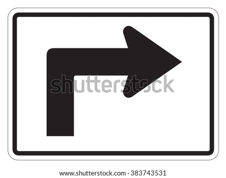 Right turn arrow auxiliary Sign isolated on a white background - stock photo
