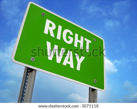Right Way Fictional Sign - stock photo
