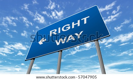 Right way sign - stock photo