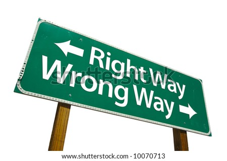 Right Way, Wrong Way road sign isolated on white. - stock photo