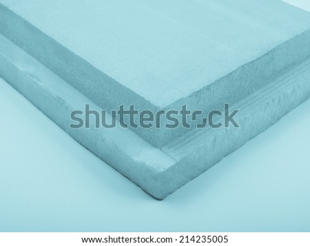 Rigid polystyrene panel for wall and roof insulation - cool cyanotype - stock photo