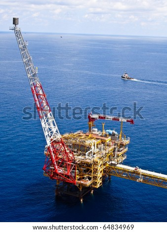 Rigs offshore Oil refinery at Gulf of Thailand - stock photo