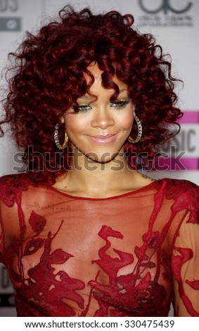 Rihanna at the 2010 American Music Awards held at Nokia Theatre L.A. Live in Los Angeles, USA on November 21, 2010. - stock photo