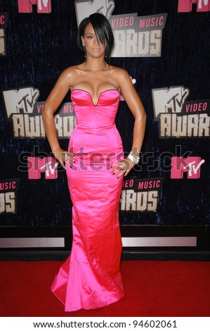 Rihanna at the 2007 MTV Video Music Awards at the Palms resort & Casino, Las Vegas. September 9, 2007 Las Vegas, NV Picture: Paul Smith / Featureflash - stock photo