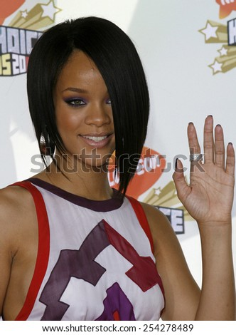 Rihanna attends the Nickelodeon's 20th Annual Kids' Choice Awards held at the Pauley Pavilion - UCLA in Westwood, California on March 31, 2007.  - stock photo