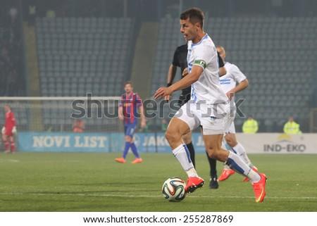RIJEKA, CROATIA FEBRUARY 18: Anas Sharbini at soccer derby match NK Rijeka (white) vs. NK Hajduk (blue-red) on February 18, 2015 in Rijeka - stock photo