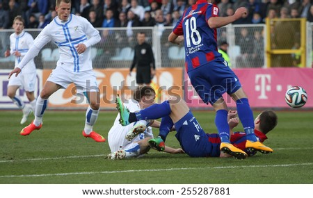 RIJEKA, CROATIA FEBRUARY 18: soccer derby match NK Rijeka (white) vs. NK Hajduk (blue-red) on February 18, 2015 in Rijeka