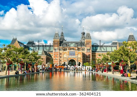Rijksmuseum Amsterdam museum with words I Amsterdam in a summer day - stock photo
