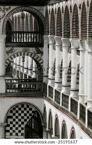 Rila Monastery arcade in Bulgaria,  balconies - stock photo