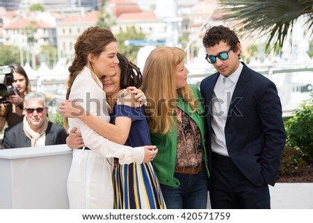 Riley Keough, Sasha Lane, Andrea Arnold , Shia LaBeouf  during the 'American Honey' photocall. 69th Festival de Cannes May 15, 2016  Cannes, France