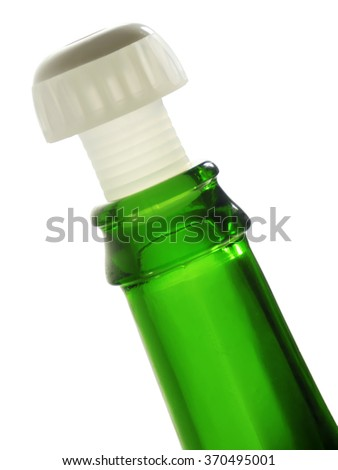 Rim of green empty bottle with plastic cork, isolated on white.  - stock photo