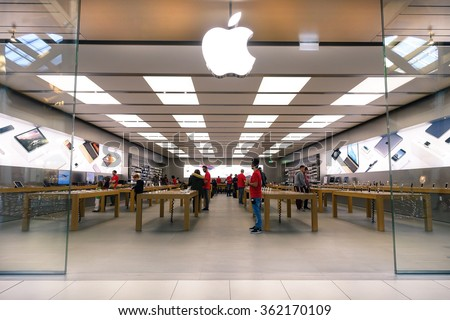 RIMINI, ITALY - DECEMBER 25, 2015: Apple store located in a shopping center on Via Caduti di Nassiriya Rimini, ITALY. Apple Inc sells computer and electronic devices by a modern global retail chain - stock photo