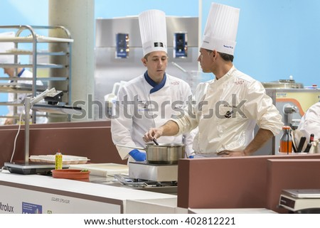 RIMINI, ITALY - 23 JANUARY 2016 - Editorial: at the fair Sigep, two chefs cook during the world championship of ice cream